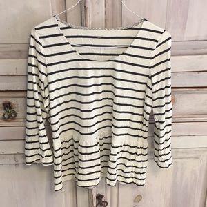 Tops - Garnet Hill Black and White Peplum Striped Top